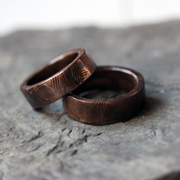 Bronze bark wedding band ring set, 7mm, rustic, artisan metalsmith, made to order