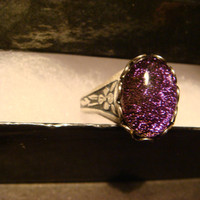 Victorian Style Purple Sparkle Dichroic Glass Antique Silver Ring- Adjustable (1077)