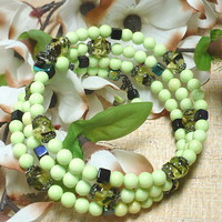 Apple Green Howlite and Czech Olivine Multi Wrapped Summer Bracelet
