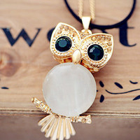 Cute bling eyes owl necklace