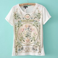Vintage Style Floral T-shirt