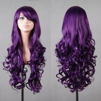 "Amazon.com: 32"" 80cm Spiral Curly Cosplay Wig--Purple: Beauty"