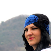 Bohemian Headband Stretchy Royal Blue & Black Wide by EmofoFashion