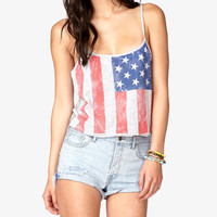 American flag strap T-shirt