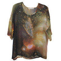 Galaxy Space Starry chiffon T-shirt