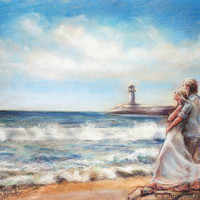 couple beach Seascape romantic original painting print ocean  seashore lighthouse
