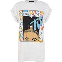 Grey MTV afro print oversized t-shirt