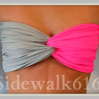 Pink And Grey Bandeau - Spandex Bandeau - Swim Bandeau