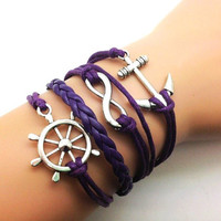 Adjustable Vintage  Bacelet  Purple rope Infinity Wish Karma Anchor Bracelet Cuff Bracelet Vintage bracelet  Jewelry Bangle 2255S