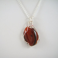 Wire Wrapped Necklace Striped Agate Pendant by HCJewelrybyRose