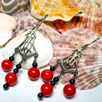 Red Coral and Black Onyx Antique Silver Niobium Chandelier Earrings