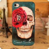 Red Flower Skull Hard Cover Case For Iphone 4/4s/5