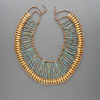 Egyptian Revival Necklace. Huge Statement Piece. Turquoise Faience. Gilt Teardrop Beads.