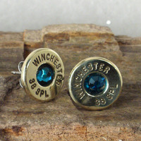 Bullet Earrings  Ultra Thin  Blue Zircon  December by ShellsNStuff
