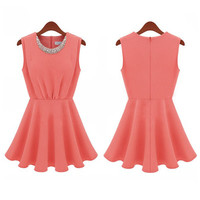 Thin chiffon skirt sleeveless dress