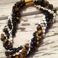 FWP Tiger&#x27;s Eye Smoky Quartz Shiva Gemstone 6 Strand Necklace