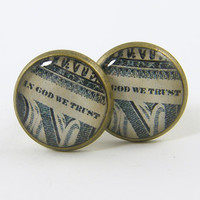 Men's Cufflinks - Money Cuff Links Green White Mens Accessories
