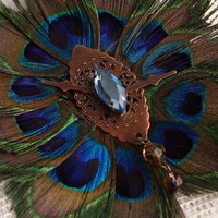 Handmade Peacock Feather Steampunk Fascinator Time Flys | peaceloveandallthingsjewelry - Accessories on ArtFire