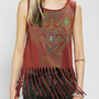 Workshop Henna Fringe Tank Top