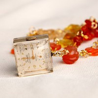 Handmade Steampunk Cube Necklace -Citrine and Carnelian | peaceloveandallthingsjewelry - Jewelry on ArtFire