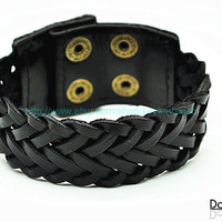 Cuff  Leather Bracelet Adjustable Black Leather Bracelet jewelry bracelet bangle bracelet  2260S