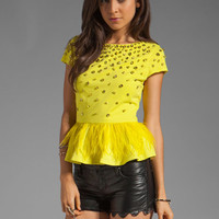Alice + Olivia Blossom Embellished Peplum Top in Chartreuse Green from REVOLVEclothing.com