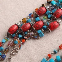 Handmade Blue and Red Howlite Turquoise and Millefiori Glass Necklace | peaceloveandallthingsjewelry - Jewelry on ArtFire