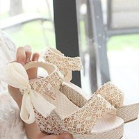 Lace Wedge Sandals from sniksa