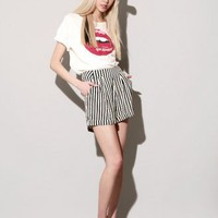 Ivory and black stripe shorts [Ayn3912] - &amp;#36;122 : Pixie Market, Fashion-Super-Market