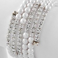 Pearl and Rhinestone Coil Bracelet-Costume Jewelry