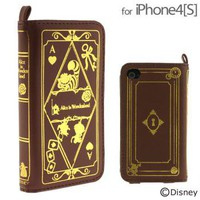 Strapya World : Disney Character Old Book Case for iPhone 4S/4 (Alice in Wonderland)