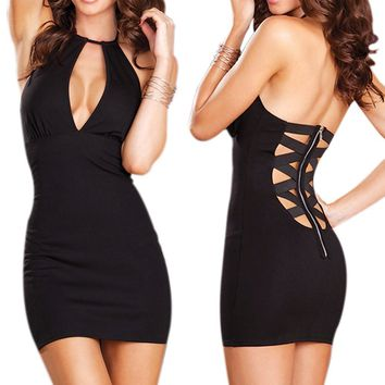 Amazon.com: LOCOMO Sexy Black Deep V Zipper Back Sleeveless Cocktail Party Dress Clubwear BD205 BK One Size Black: Clothing