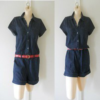 CALVIN KLEIN Denim Blue Jean Romper Jumper One Piece Jumpsuit Shorts Womens S
