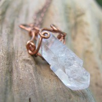 Copper Scroll Wire Wrapped Quartz Crystal Pendant Handmade Necklace