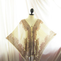 Ancient Indie Summer Off White Cream Persian Paisley Poncho Kaftan Gypsy Scarf Shawl Cover Up Butterfly Wings Cape Sheer Chiffon Kaftan