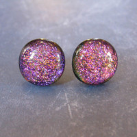 Dichroic Pink Earrings, Hypoallergenic Post Earings, Ear Jewelry, Etsy Fashion Jewelry - Ellie - 1810 -3