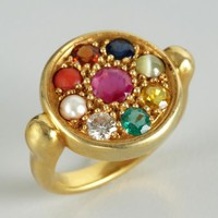 Amrapali gold multi stone round face ring | BLUEFLY up to 70 off designer brands