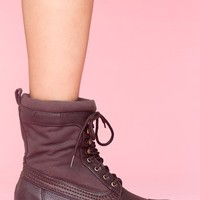 Canvas Combat Boot - Brown in  Shoes at Nasty Gal