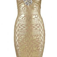Bqueen Sexy Bra Beaded Gold Foil Bandage Dress H469