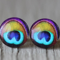 Peacock Studs : Peacock Feather Stud Earrings, Navy Blue, Green, Purple, Orange, Fake Plugs, Summer, ArtisanTree