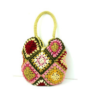 Beige Pink and Magenta Knitted Crochet Bag by NatbeesFashion