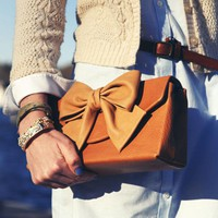 Caramel Leather Clutch with Bone Leather Bow - LoLoBu