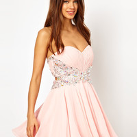 Forever Unique Bandeau Prom Dress with Embellished Waist