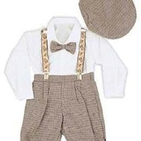 Infant & Toddler Boys Vintage Style Knickers Outfit 5-pc with Suspenders, Bowtie & Newsboy Cap: Clothing