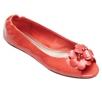 Kate Peep Toe Flat Coral Patent