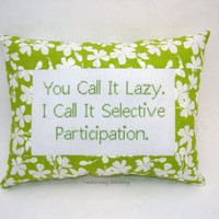 Funny Cross Stitch Pillow, Lime Green Pillow, Lazy Quote