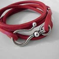 Red Leather Wrap Bracelet With Silver Hook | JabberJewels - Jewelry on ArtFire