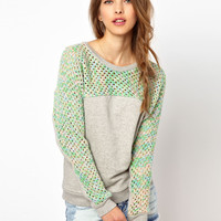 Vanessa Bruno Athé Sweatshirt with Knitted Panel and Sleeves