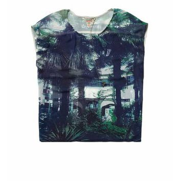 Sheer summer top with palm tree print - T-shirts & Tops - Official Scotch & Soda Online Fashion & Apparel Shops