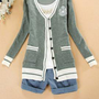 Ivy League Crested Knit Cardigan Sweater in Preppy Grey | Sincerely Sweet Boutique